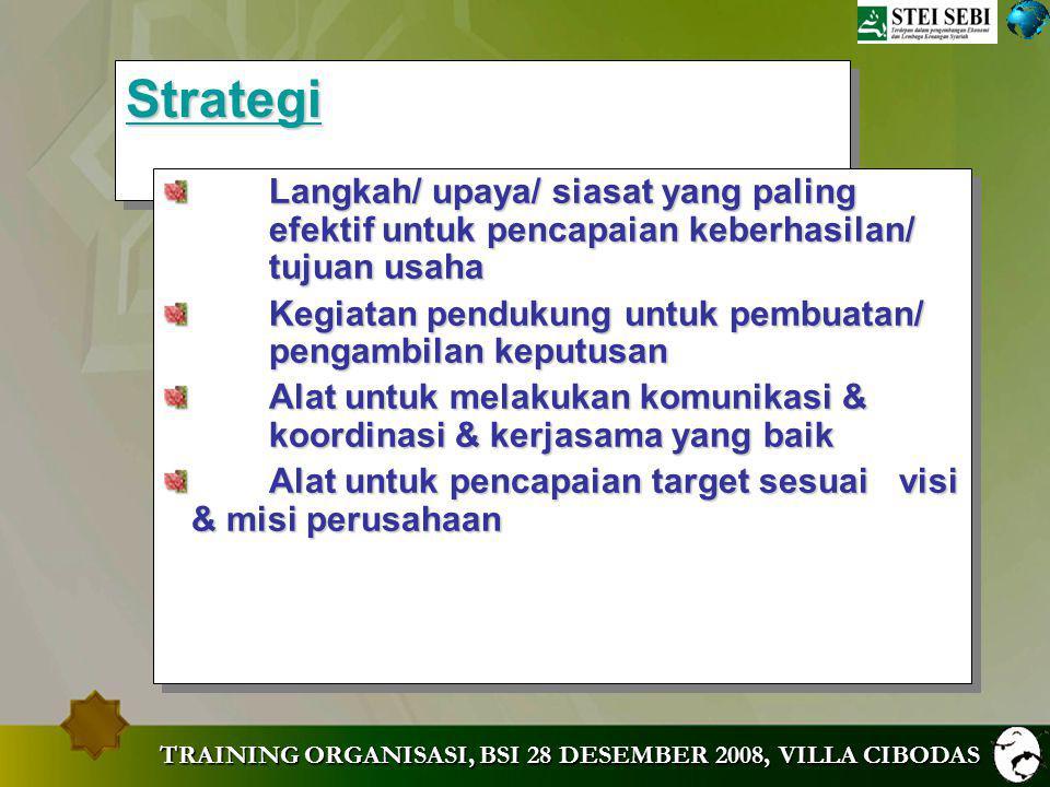 Strategi Langkah/ upaya/ siasat yang paling efektif untuk pencapaian keberhasilan/ tujuan usaha.
