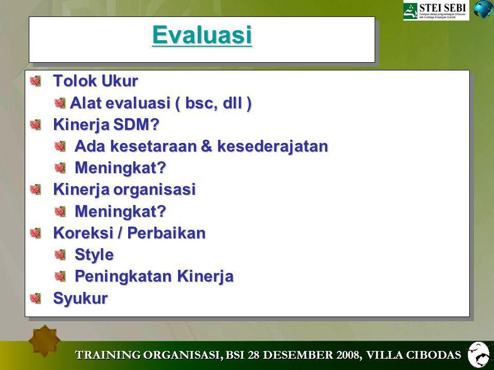 Evaluasi Tolok Ukur Alat evaluasi ( bsc, dll ) Kinerja SDM