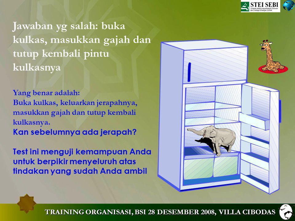 MUHAMMAD ZEN TRAINING ORGANISASI. Jawaban yg salah: buka kulkas, masukkan gajah dan tutup kembali pintu kulkasnya.