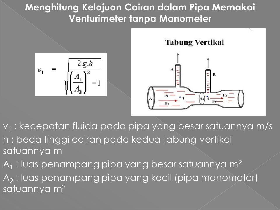 Menghitung Kelajuan Cairan dalam Pipa Memakai Venturimeter tanpa Manometer v1 : kecepatan fluida pada pipa yang besar satuannya m/s h : beda tinggi cairan pada kedua tabung vertikal satuannya m A1 : luas penampang pipa yang besar satuannya m2 A2 : luas penampang pipa yang kecil (pipa manometer) satuannya m2