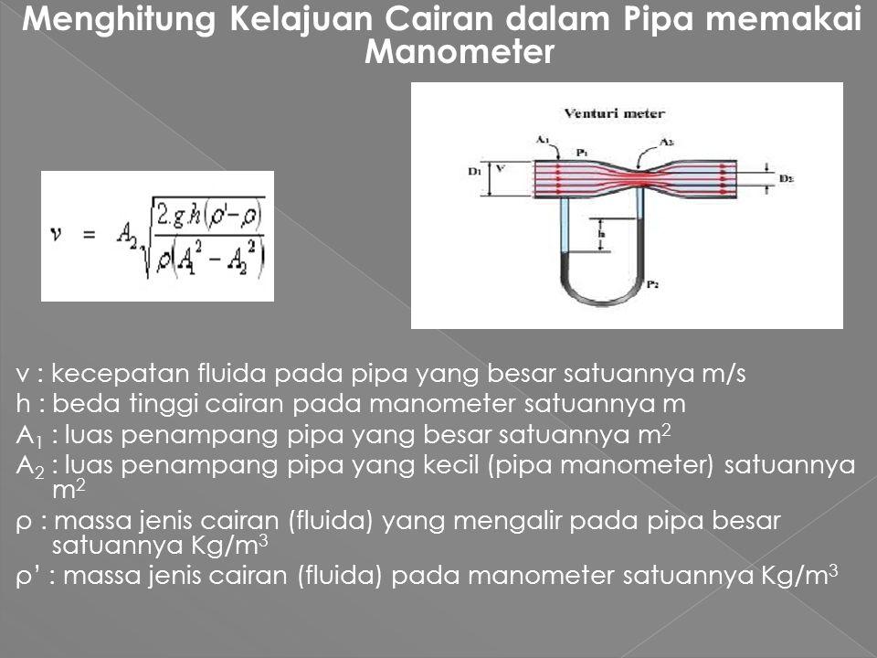 Menghitung Kelajuan Cairan dalam Pipa memakai Manometer