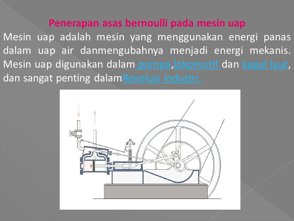 Penerapan asas bernoulli pada mesin uap Mesin uap adalah mesin yang menggunakan energi panas dalam uap air danmengubahnya menjadi energi mekanis.