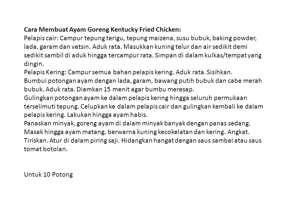 Cara Membuat Ayam Goreng Kentucky Fried Chicken: