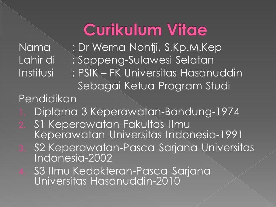 Curikulum Vitae Nama : Dr Werna Nontji, S.Kp.M.Kep