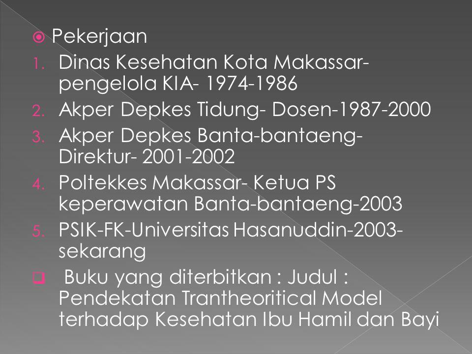 Pekerjaan Dinas Kesehatan Kota Makassar- pengelola KIA- 1974-1986. Akper Depkes Tidung- Dosen-1987-2000.