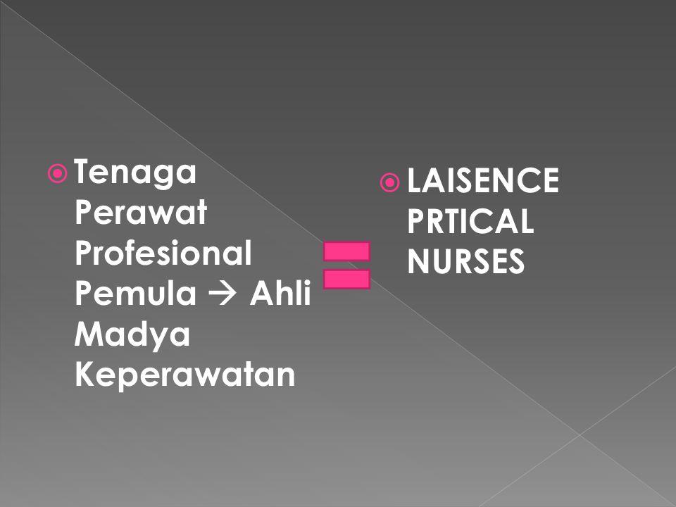 Tenaga Perawat Profesional Pemula  Ahli Madya Keperawatan