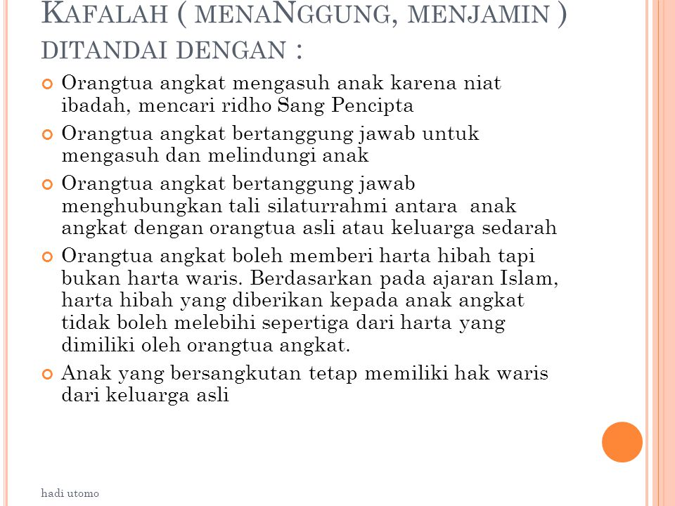 Kafalah ( menaNggung, menjamin ) ditandai dengan :
