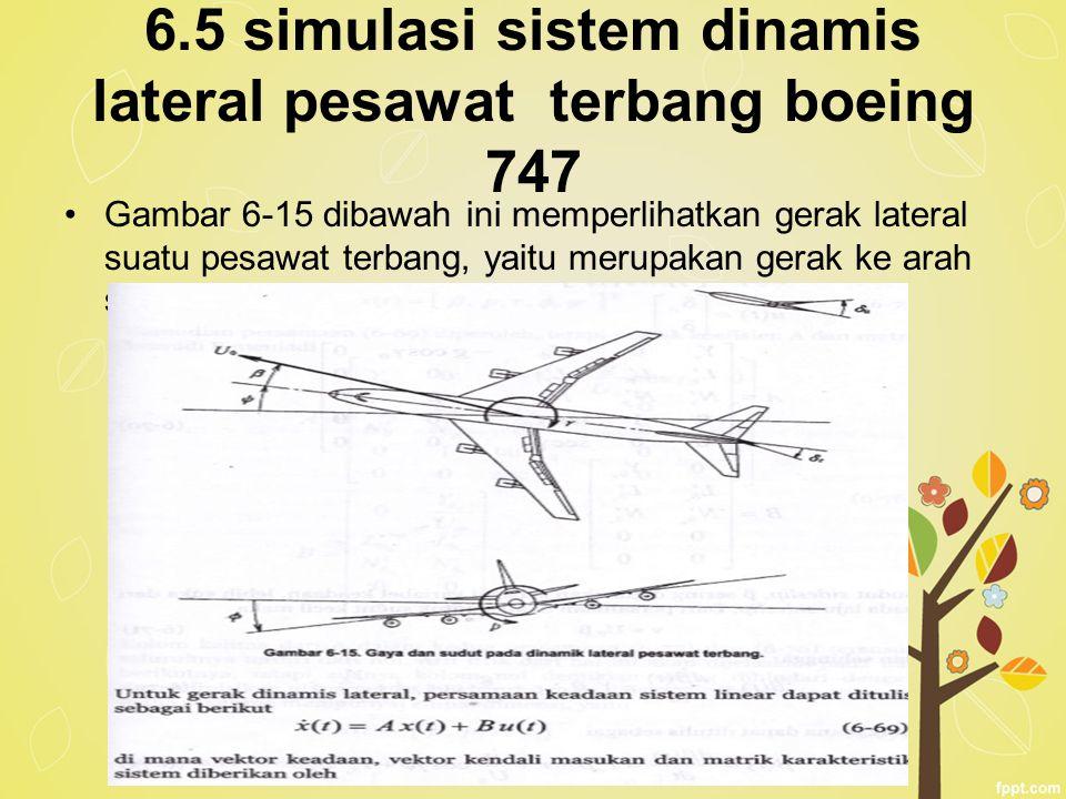 6.5 simulasi sistem dinamis lateral pesawat terbang boeing 747