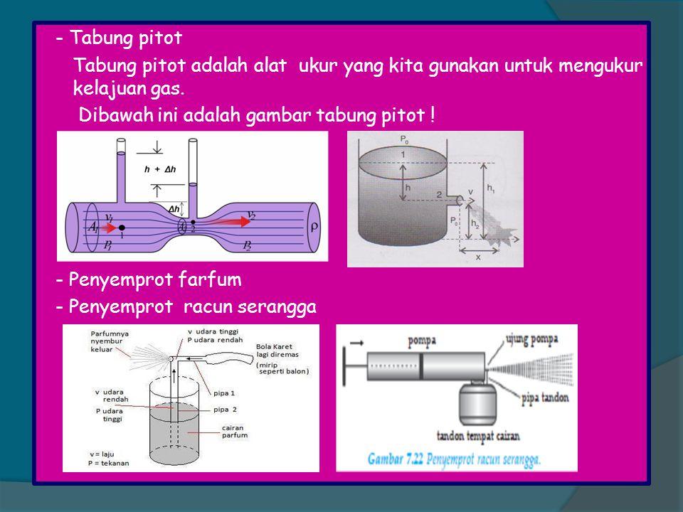 - Tabung pitot Tabung pitot adalah alat ukur yang kita gunakan untuk mengukur kelajuan gas. Dibawah ini adalah gambar tabung pitot !