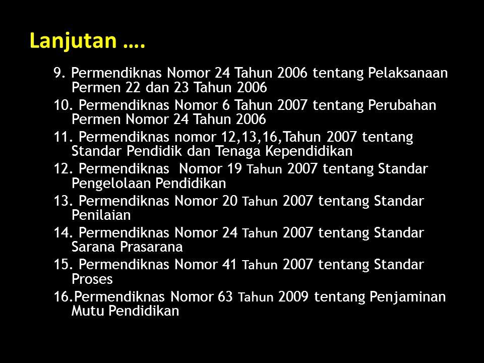Lanjutan …. 9. Permendiknas Nomor 24 Tahun 2006 tentang Pelaksanaan Permen 22 dan 23 Tahun 2006.
