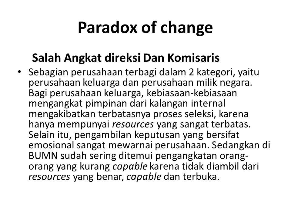 Paradox of change Salah Angkat direksi Dan Komisaris