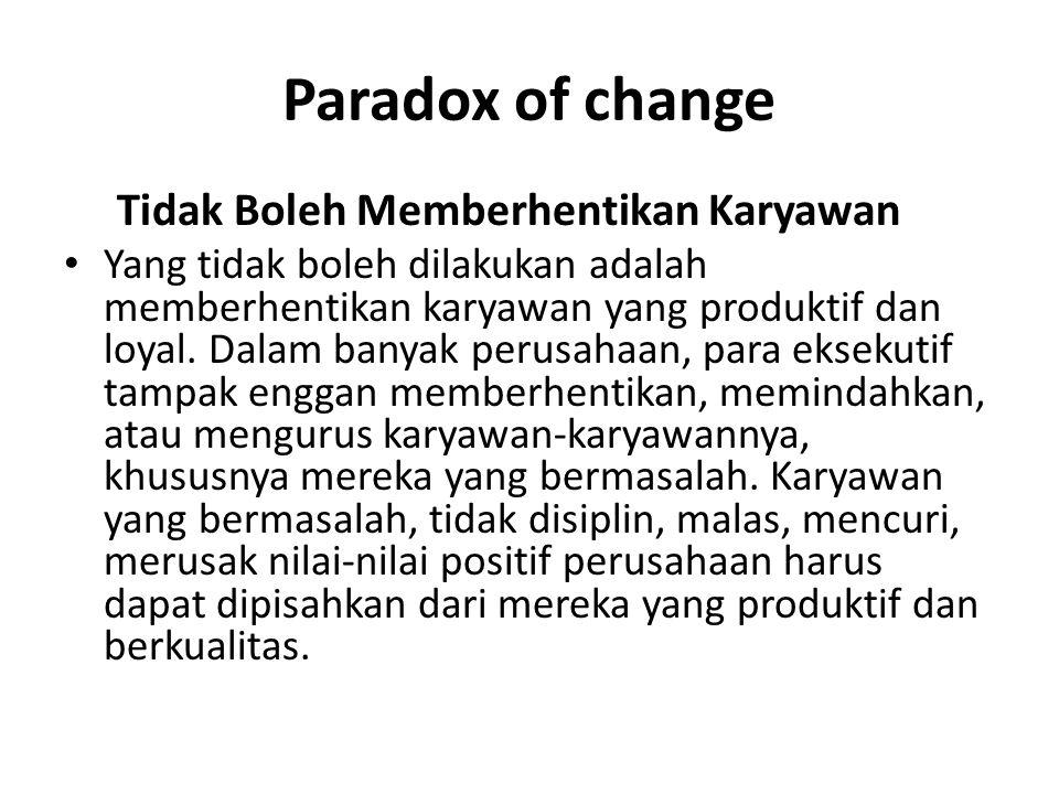 Paradox of change Tidak Boleh Memberhentikan Karyawan