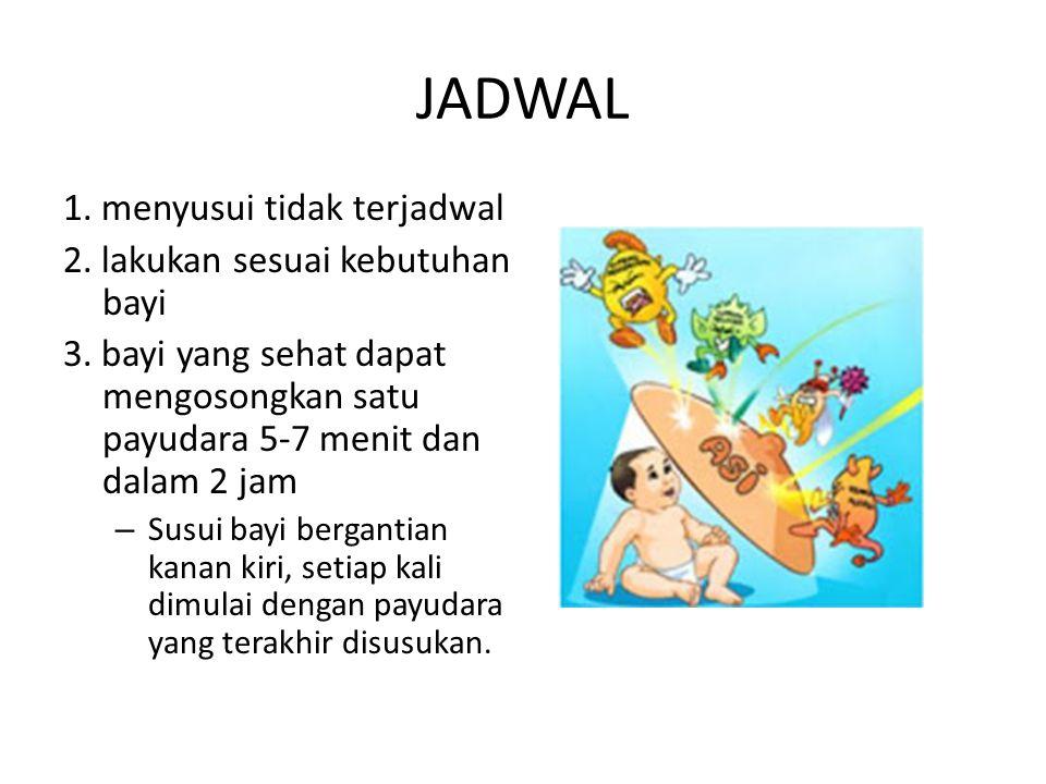 JADWAL 1. menyusui tidak terjadwal 2. lakukan sesuai kebutuhan bayi