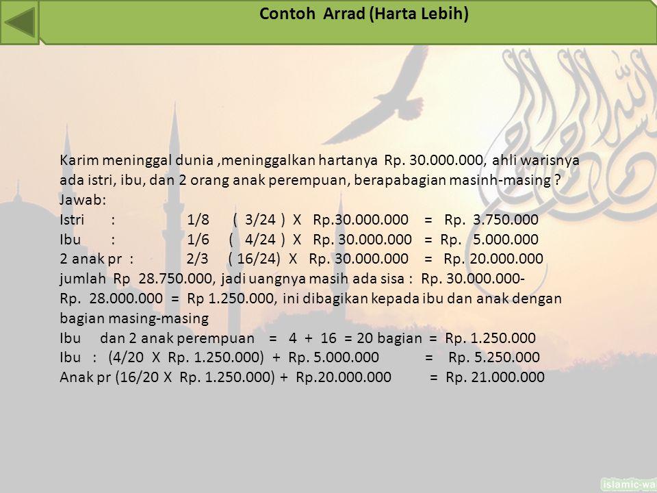 Contoh Arrad (Harta Lebih)