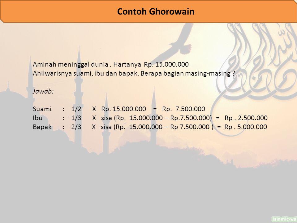 Contoh Ghorowain Aminah meninggal dunia . Hartanya Rp. 15.000.000