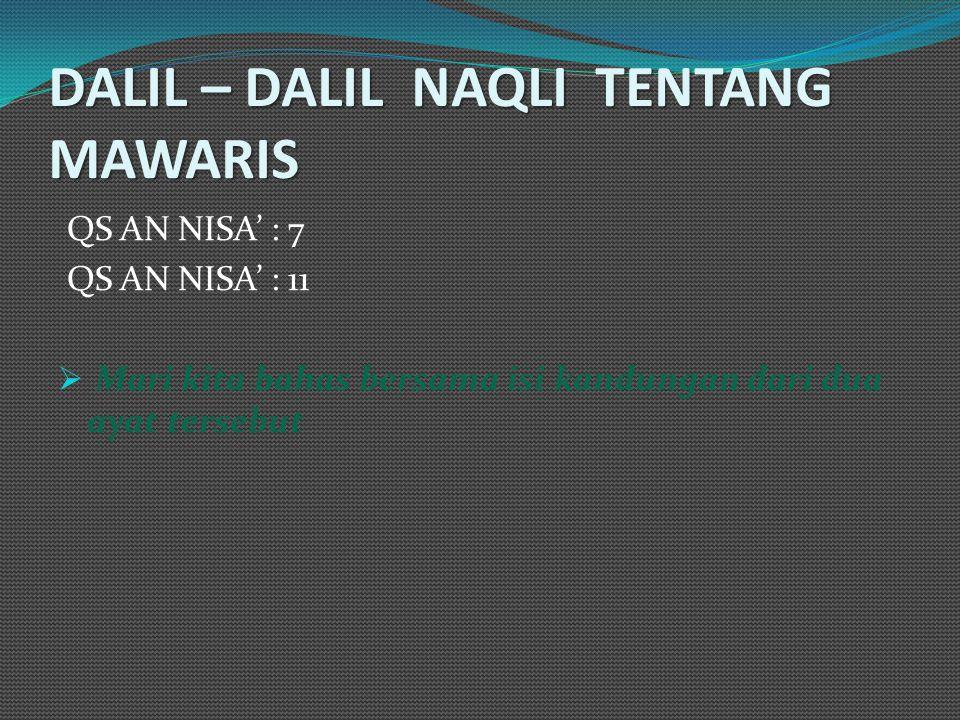 DALIL – DALIL NAQLI TENTANG MAWARIS