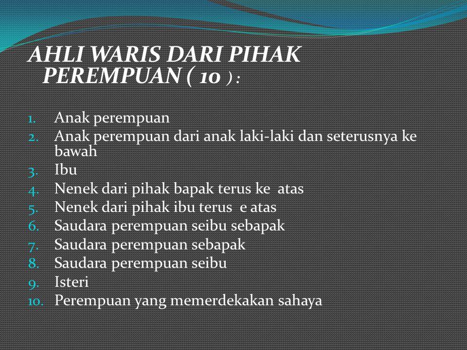 AHLI WARIS DARI PIHAK PEREMPUAN ( 10 ) :