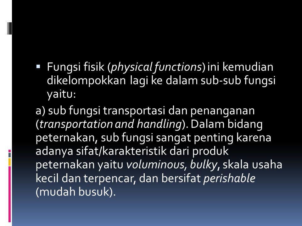 Fungsi fisik (physical functions) ini kemudian dikelompokkan lagi ke dalam sub-sub fungsi yaitu: