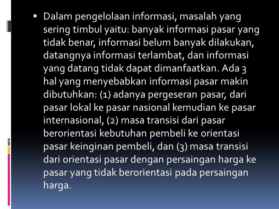 Dalam pengelolaan informasi, masalah yang sering timbul yaitu: banyak informasi pasar yang tidak benar, informasi belum banyak dilakukan, datangnya informasi terlambat, dan informasi yang datang tidak dapat dimanfaatkan.