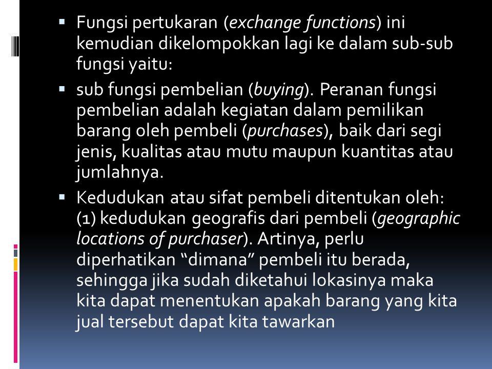Fungsi pertukaran (exchange functions) ini kemudian dikelompokkan lagi ke dalam sub-sub fungsi yaitu: