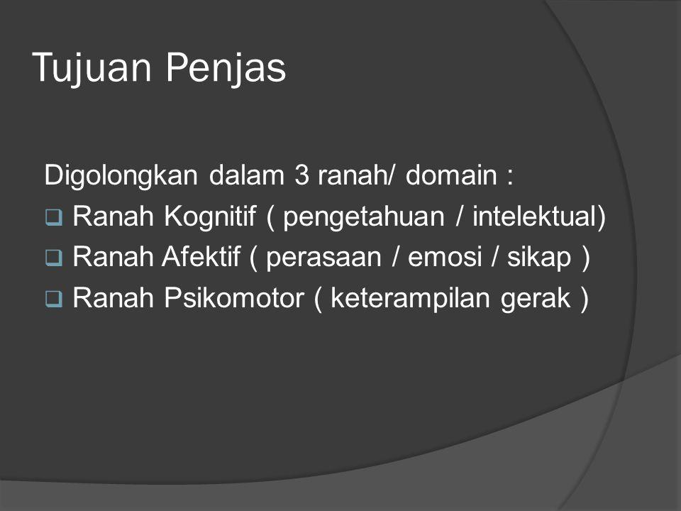 Tujuan Penjas Digolongkan dalam 3 ranah/ domain :