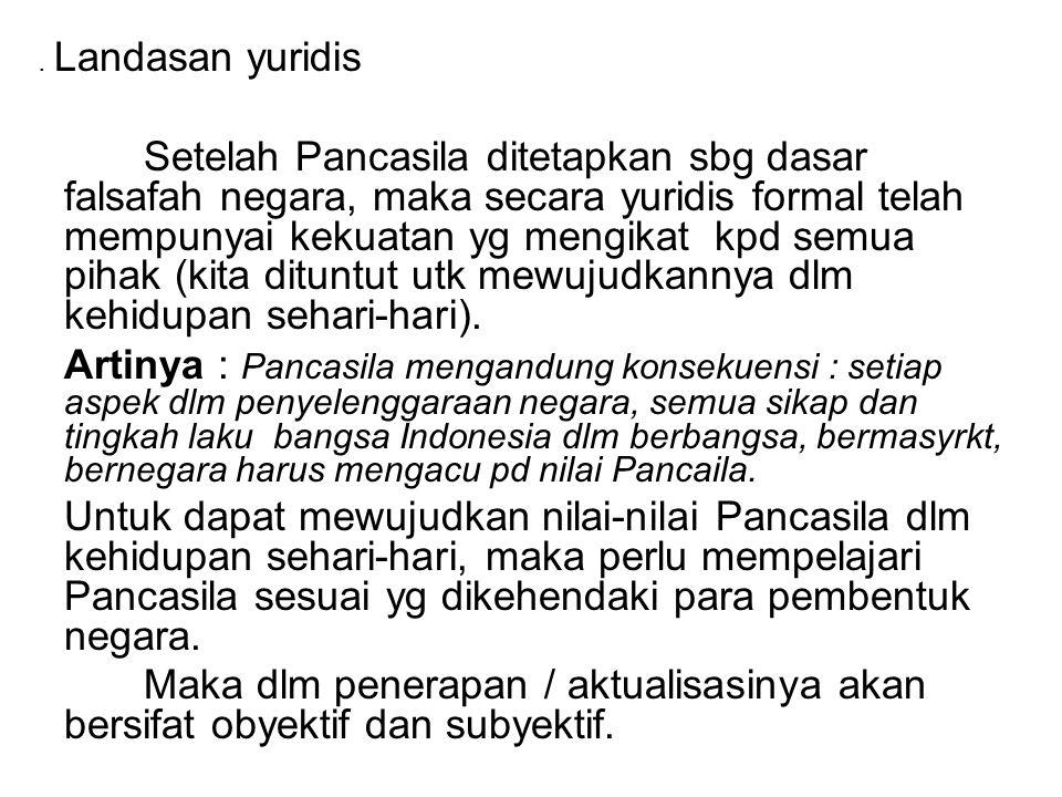 . Landasan yuridis