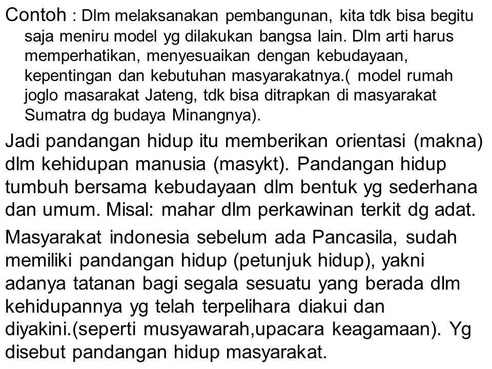 Contoh : Dlm melaksanakan pembangunan, kita tdk bisa begitu saja meniru model yg dilakukan bangsa lain. Dlm arti harus memperhatikan, menyesuaikan dengan kebudayaan, kepentingan dan kebutuhan masyarakatnya.( model rumah joglo masarakat Jateng, tdk bisa ditrapkan di masyarakat Sumatra dg budaya Minangnya).
