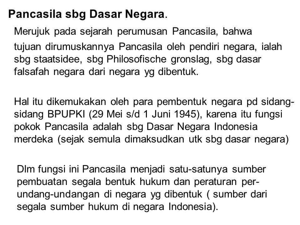 Pancasila sbg Dasar Negara.
