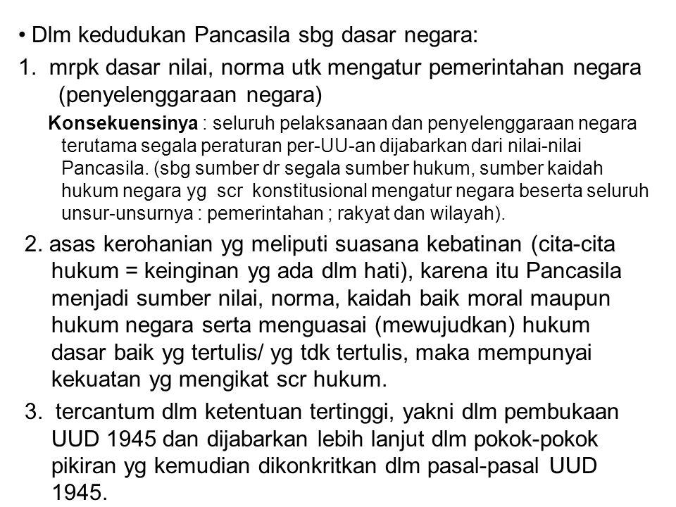 Dlm kedudukan Pancasila sbg dasar negara: