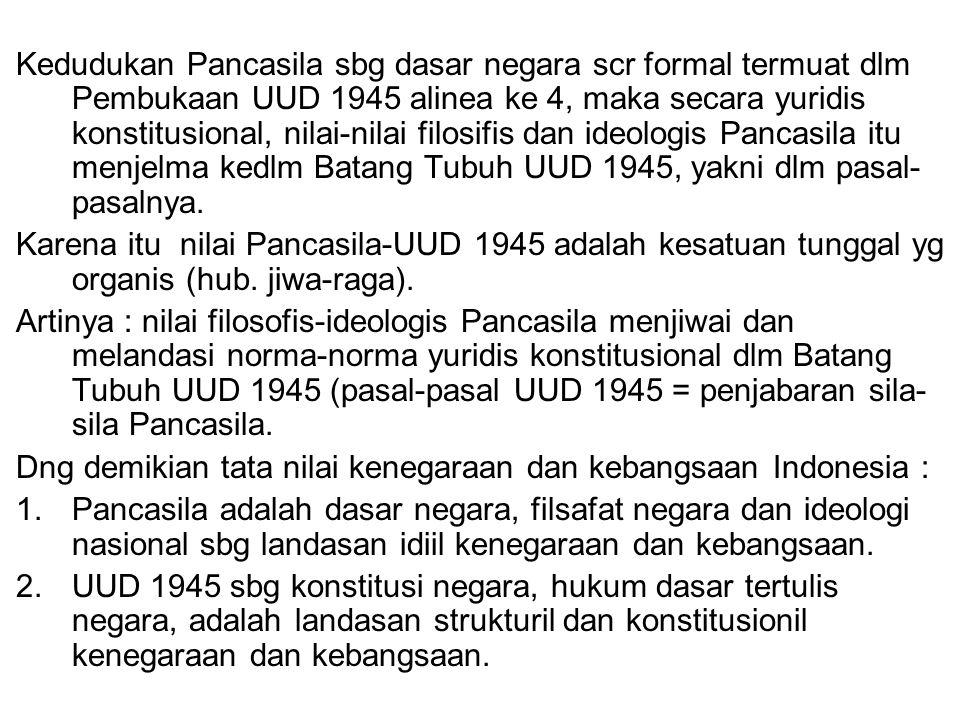 Kedudukan Pancasila sbg dasar negara scr formal termuat dlm Pembukaan UUD 1945 alinea ke 4, maka secara yuridis konstitusional, nilai-nilai filosifis dan ideologis Pancasila itu menjelma kedlm Batang Tubuh UUD 1945, yakni dlm pasal-pasalnya.