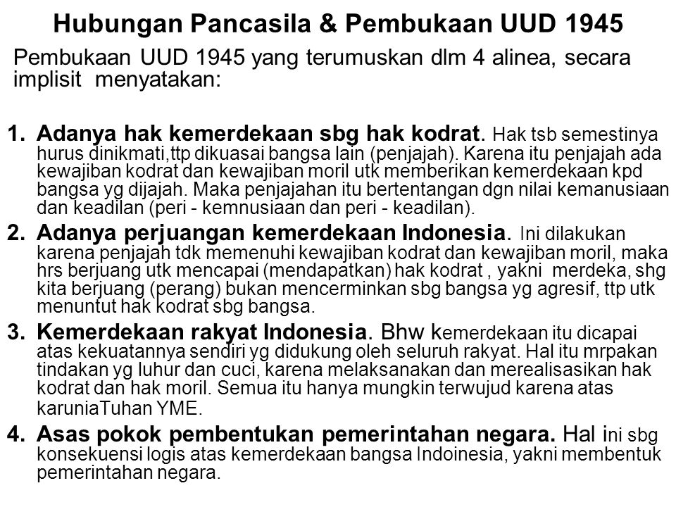 Hubungan Pancasila & Pembukaan UUD 1945