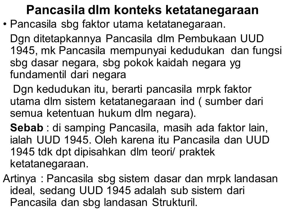 Pancasila dlm konteks ketatanegaraan