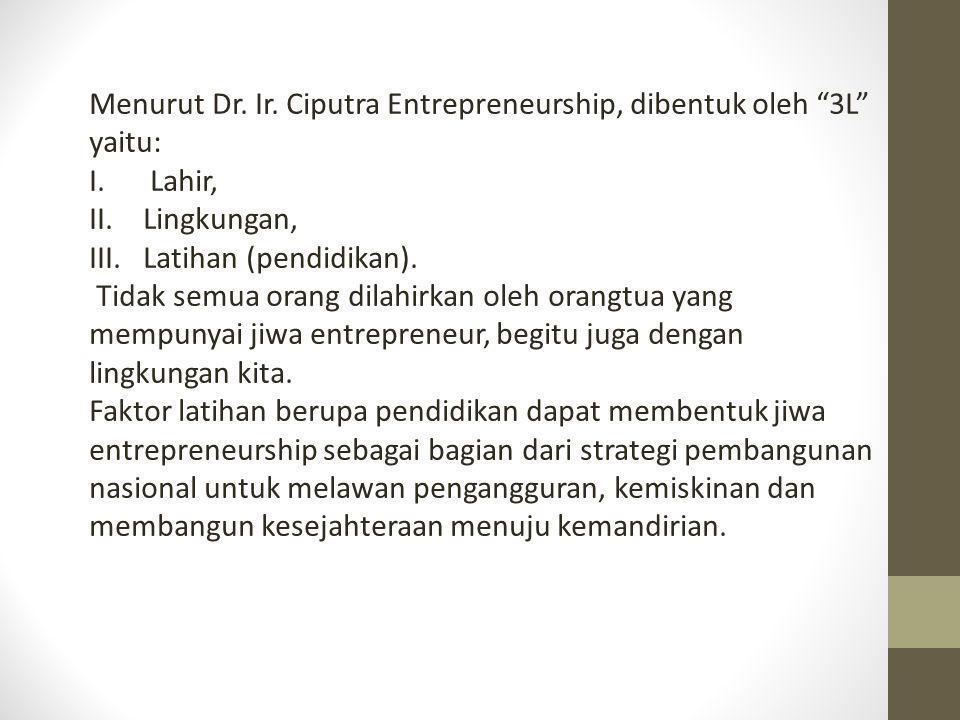 Menurut Dr. Ir. Ciputra Entrepreneurship, dibentuk oleh 3L