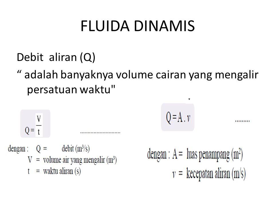 FLUIDA DINAMIS Debit aliran (Q) adalah banyaknya volume cairan yang mengalir persatuan waktu