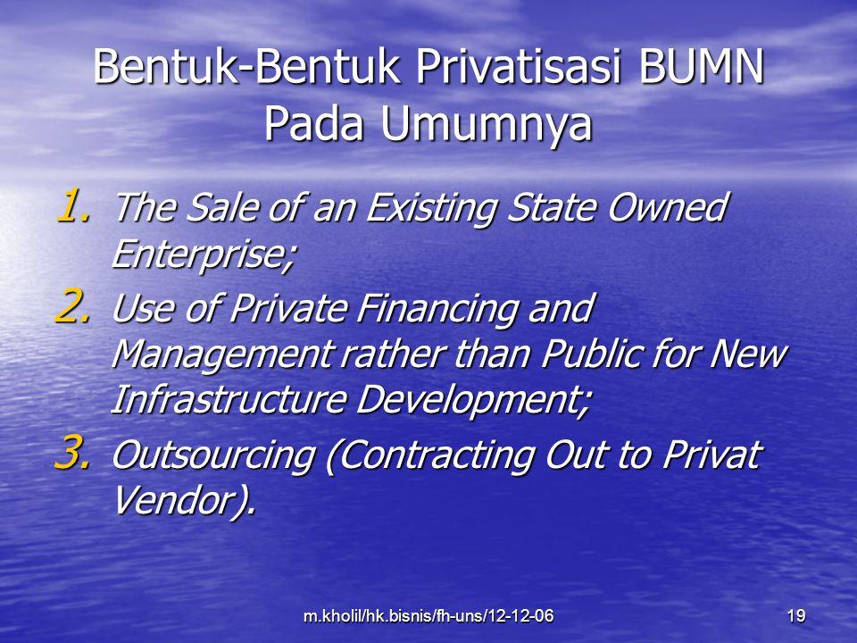 Bentuk-Bentuk Privatisasi BUMN Pada Umumnya