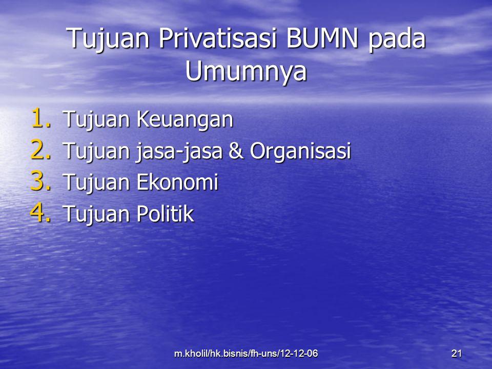 Tujuan Privatisasi BUMN pada Umumnya