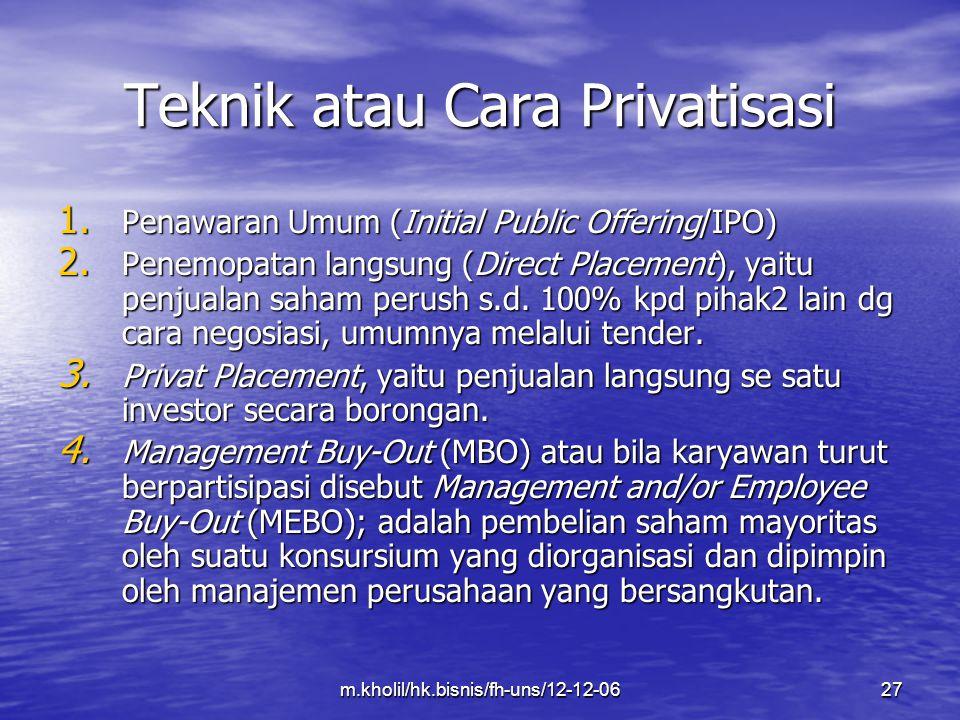 Teknik atau Cara Privatisasi