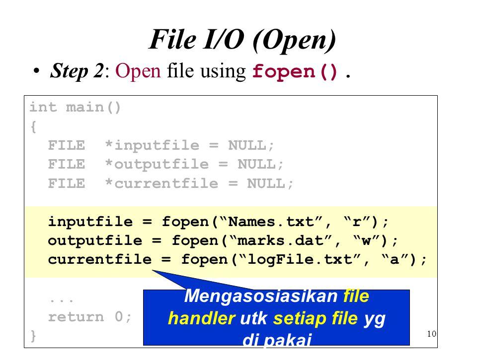 Mengasosiasikan file handler utk setiap file yg