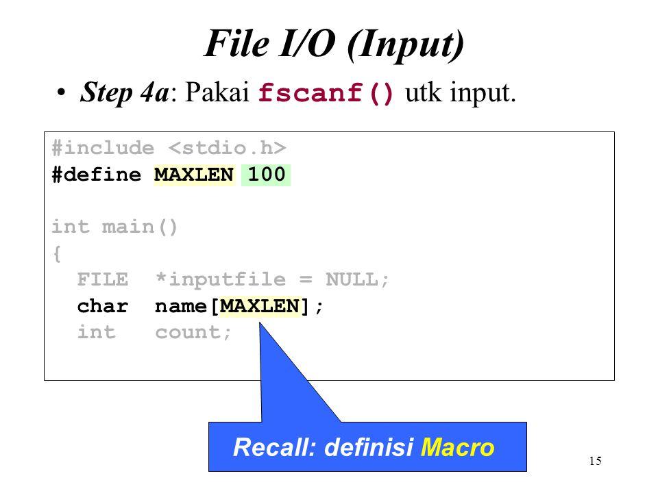 Recall: definisi Macro