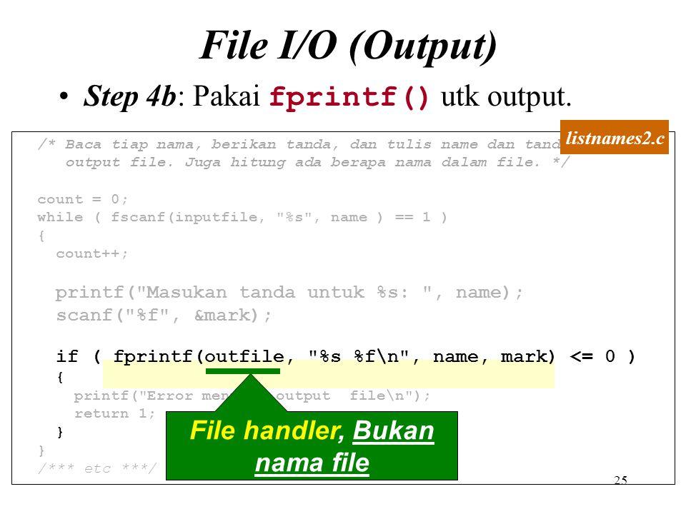 File handler, Bukan nama file