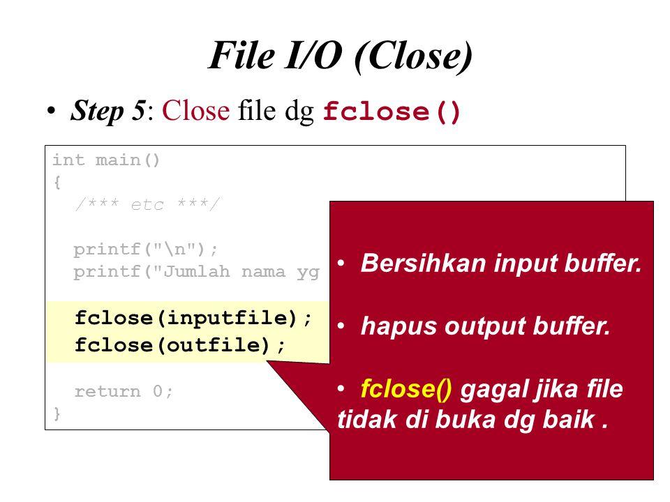 File I/O (Close) Step 5: Close file dg fclose()