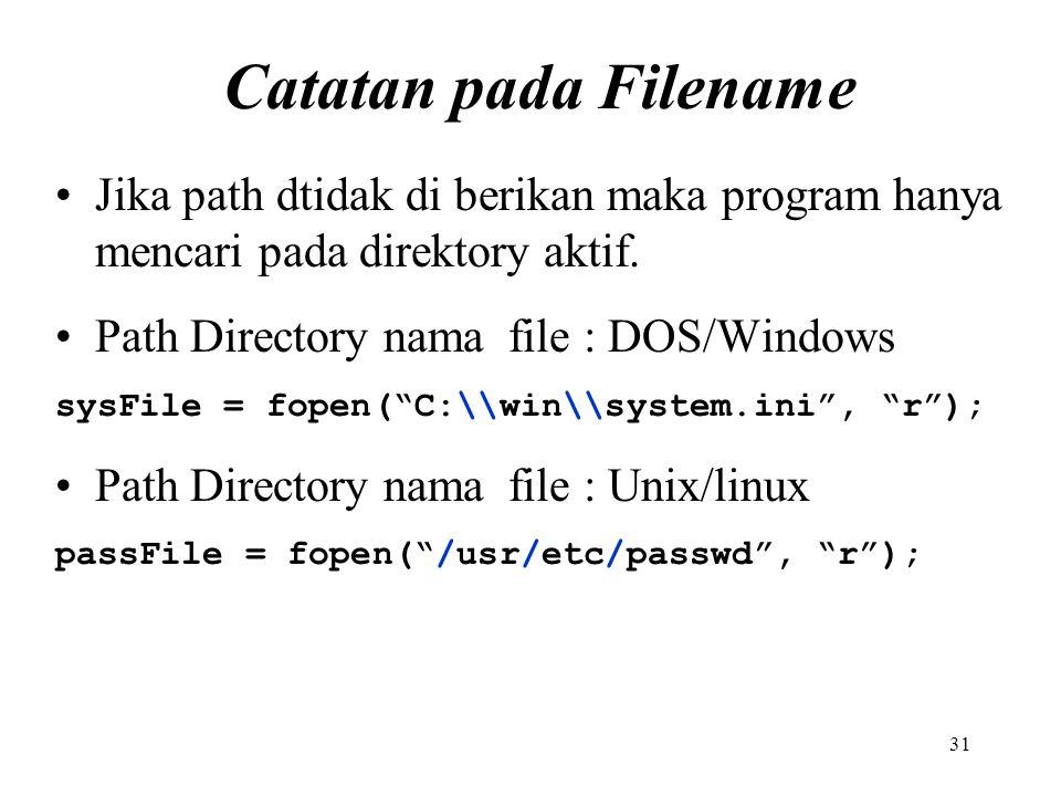 Catatan pada Filename Jika path dtidak di berikan maka program hanya mencari pada direktory aktif. Path Directory nama file : DOS/Windows.