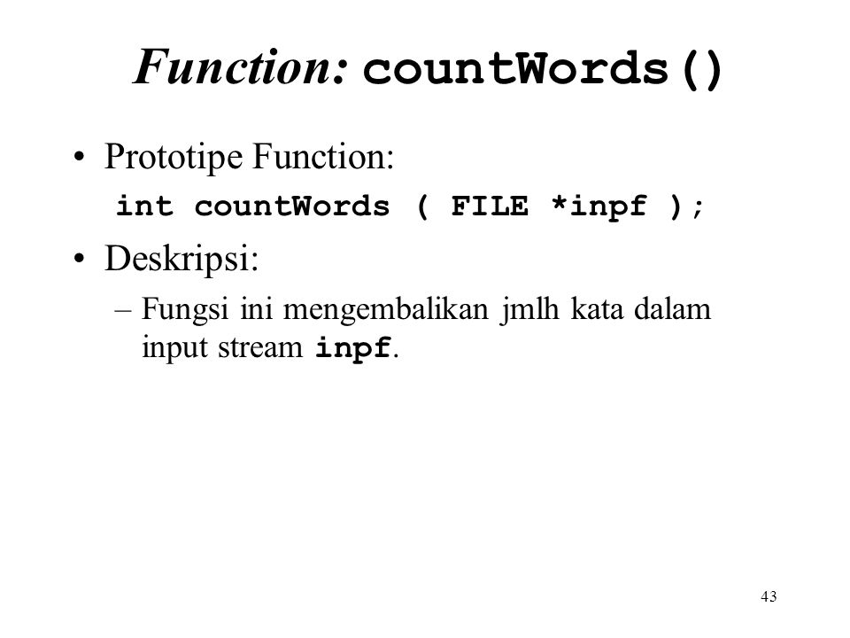 Function: countWords()