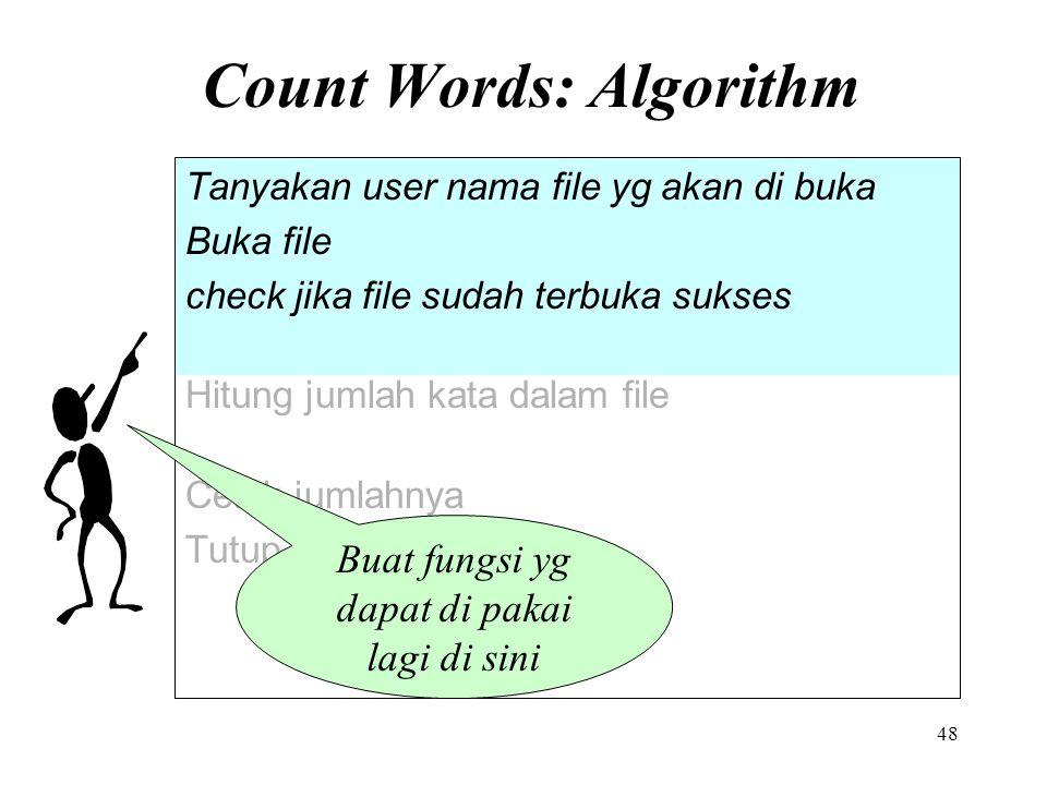 Count Words: Algorithm