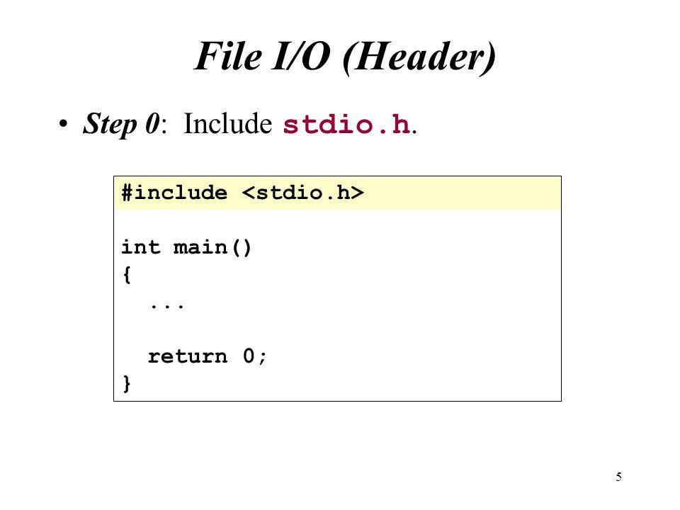 File I/O (Header) Step 0: Include stdio.h. #include <stdio.h>