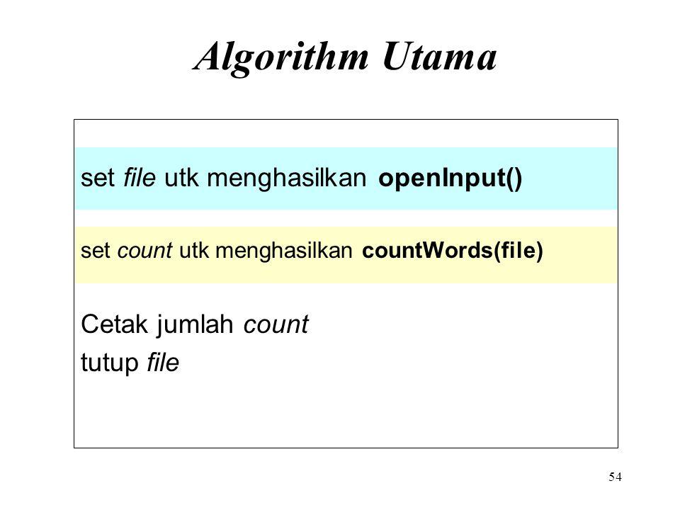 Algorithm Utama set file utk menghasilkan openInput()