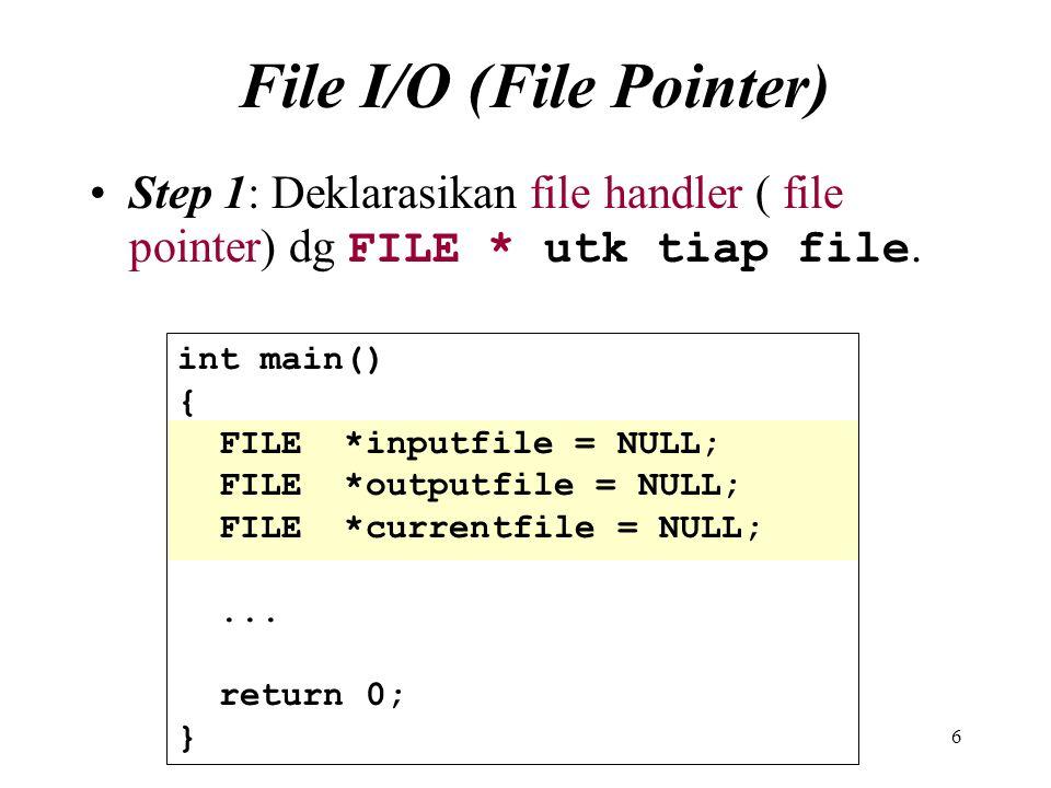 File I/O (File Pointer)