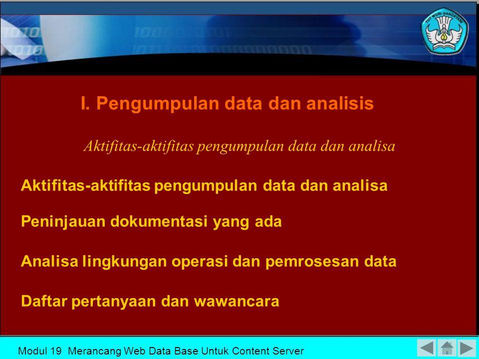 Aktifitas-aktifitas pengumpulan data dan analisa