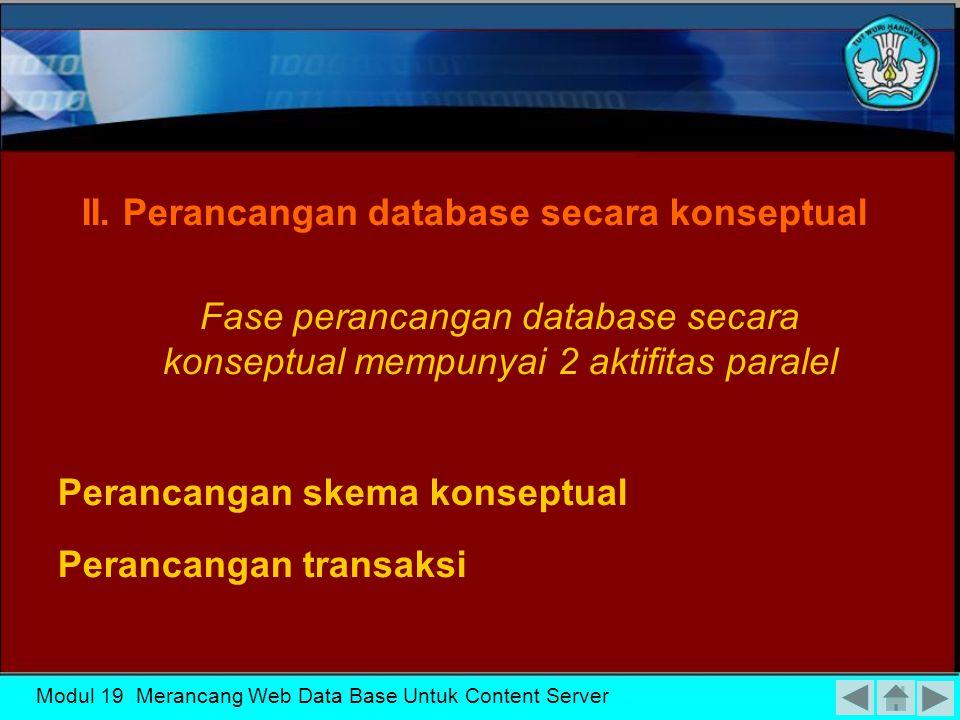II. Perancangan database secara konseptual