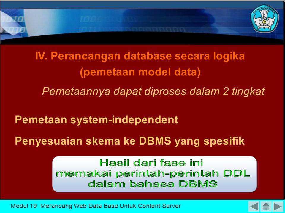 IV. Perancangan database secara logika